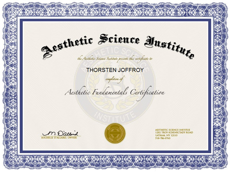 """Aesthetics Fundamentals Certification"" - Thorsten Joffroy"