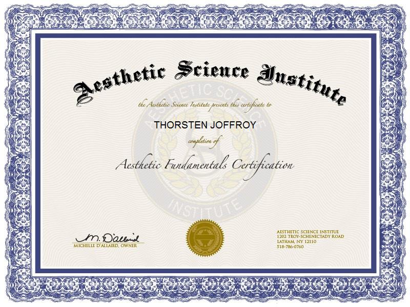 """Aesthetics Fundamentals Certification"" - Thorsten Joffroy"